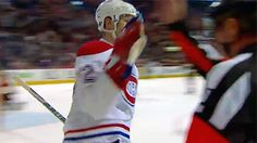 Erik Cole high-give's Referee Greg Kimmerly Referee, National Hockey League, Montreal Canadiens, Nhl, Sports, Hs Sports, Sport