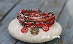 """Bracelet cordon liberty soie et suédine """" wiltshire queen """" bronze"""