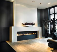 fireplace tile ideas - Still waiting for fall to really set in? Not to worry--these eye-catching fireplace tile ideas are ready to take on any season. House Design, Home Living Room, Wall Fires, Home, Living Room With Fireplace, Contemporary Fireplace, Fireplace Design, House Interior, Modern Fireplace