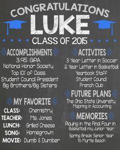 Boy Graduation Printable Personalized Chalkboard Graduation Party Decor, High School Graduation, Outdoor Graduation Parties, Graduation Party Planning, 8th Grade Graduation, Graduation Gifts, Graduation Ideas, Graduation 2016, Grad Parties