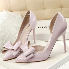 [US$ 33.99] Women's Patent Leather Stiletto Heel Pumps Closed Toe With Bowknot shoes (085114810)https://www.jjshouse.com/
