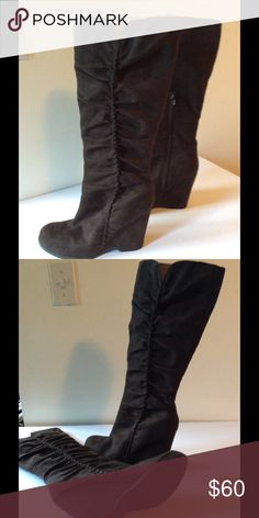 Brown Mia Boots 8.5 wide calf Brown faux suede brown Mia knee high wedge heel boots. Very comfortable. Worn only a few times. Mia Shoes Winter & Rain Boots