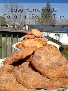 Beaver Tails: a treat when at Canada& Wonderland or while skating on the Rideau Canal. Now here& step by step instructions for Easy Homemade Beaver Tails! No Bake Desserts, Just Desserts, Delicious Desserts, Dessert Recipes, Yummy Food, Italian Desserts, Homemade Desserts, Deep Fried Desserts, Cinnamon Desserts