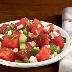 """+Refreshing Watermelon Salad from ATHENOS - """"It's been called everything from 'refreshing' to 'unexpectedly wonderful.' Whatever you call it, feta, balsamic and fresh watermelon unite for a delightfully unique salad."""" — ATHENOS"""