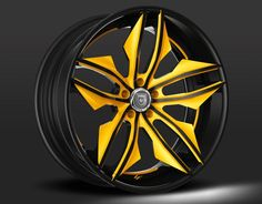 Custom Black and Yellow Finish. Rims For Cars, Rims And Tires, Car Rims, 22 Inch Rims, Rim And Tire Packages, Customised Vans, Pink Rims, Car Gadgets, Custom Wheels