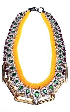 Shop Tear Drop Crystal And Yellow Cord Necklace by Venna for Preorder on Moda Operandi
