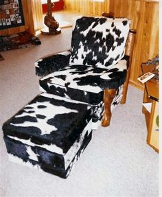 Cowhide club chair and ottoman. Howkola furniture. Tim Lozier