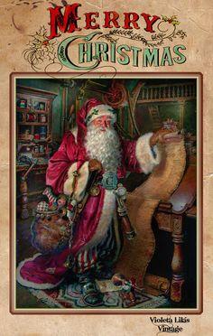 Violeta lilás Vintage: Cartão de Natal Vitoriano