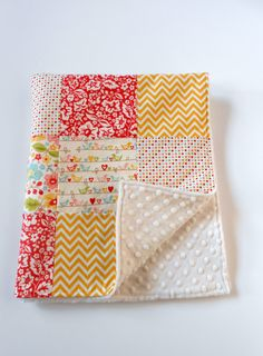 Minky Baby Girl Patchwork Blanket Quilt Riley by KristensCoverlets, $55.00