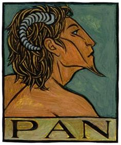 Pan is the Greek God of the wild, the inspirer of panic. He is half-human and half-goat.