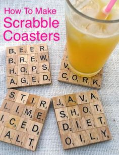 How To Make Scrabble Coasters...http://homestead-and-survival.com/how-to-make-scrabble-coasters/