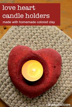 Homemade colored clay recipe and a beautiful Valentine craft - heart shaped candle holders