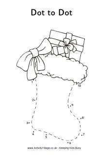 Christmas stocking dot to dot