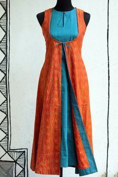 Oooh that would be a fun summer dress :) dress - aqua mangalgiri & orange ikat – maati crafts Salwar Designs, Blouse Designs, Kurta Patterns, Dress Patterns, Indian Attire, Indian Wear, Indian Dresses, Indian Outfits, Ikkat Dresses
