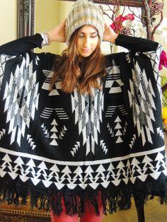 Boho Gypsy Hippie Chic Fringe Kimono Crochet Sweater Cardigan Duster SM-L/XL #ClothingBucket #PonchoSweater