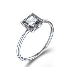 Bezel Set Princess Cut Diamond Ring in 14k White Gold