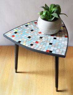 Vintage Tripod Side Table Mosaic Top 50s
