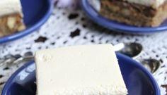 Prăjitură Parlament (variantă reinterpretată) Creme Caramel, Feta, Cheese, Dishes, Candies, Cream, Plate, Tableware, Cutlery