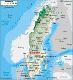 Sweden large color map