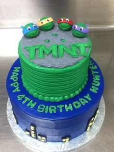 Ninja turtle cake I decorated and modelled outside decos with fondant