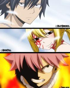 Natsu, Lucy e gray battle