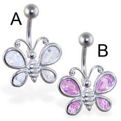 Large jeweled butterfly belly ring.  #bellyring #piercing #bodypiercings #bodyjewelry #butterfly ♥ $7.99 via OnlinePiercingShop.com