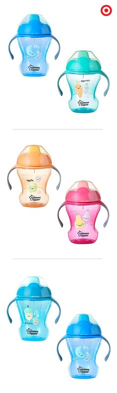 Tommy Tippee trainer sippy cups will help your baby transition from breast- or bottle-feeding to drinking from a cup. The fun, colorful designs feature a soft spout, non-spill valve and easy-to-hold handles. Plus, they're BPA free and dishwasher safe.