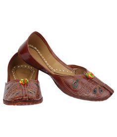 Wanderlust Karigiri Toe Strap Semi Flower Women Brown Ethnic Jutti