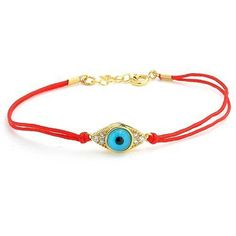 14k Gold Vermeil Red String Evil Eye Bracelet 6.5 in.