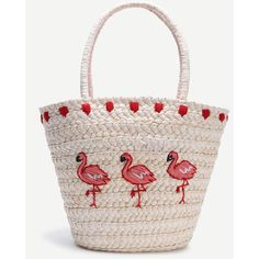 Beige Bird Pattern Straw Tote Bag (435 EGP) ❤ liked on Polyvore featuring bags, handbags, tote bags, tote purses, tote hand bags, straw tote, straw tote bags and handbags totes