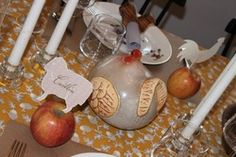 Check out the apples with animal cut outs for name places...could jazz up a bit for Reserved Tables