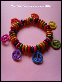 Wooden peace sign bracelet.  Part of the Hello Kitty jewellery box that was made for special little girls birthday xx
