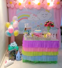 Cumpleaños 9th Birthday Parties, Fairy Birthday Party, 1st Birthday Girls, Diy Birthday, Unicorn Birthday, Unicorn Party, Birthday Party Decorations, Rainbow Theme, Rainbow Birthday