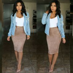 Pencil skirt outfits - fav skirt of all time 😊🙌 outfitpost fully restocked💕 don't miss out 😊 Top & skirt code Jacket code 💕xomonicas💕 Shoes Mode Outfits, Night Outfits, Spring Outfits, Casual Outfits, Outfit Summer, Casual Pencil Skirt Outfits, Yellow Pencil Skirt Outfit, Casual Date Night Outfit, Fashion Mode