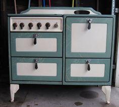 Deco Jadeite Green & Cream Antique gas Stove