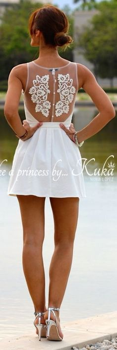 Kuka & Chic White Elegant Embroidered Sheer Back Mini Skater Dress by Like A Princess Like.... Kuka