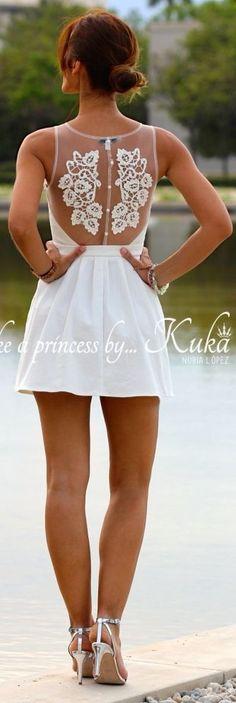Kuka & Chic White Elegant Embroidered Sheer Back Mini Skater Dress by Like A Princess Like.... Kuka