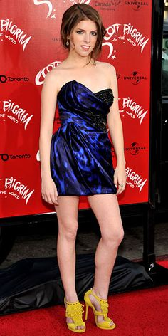 Anna Kendrick in Marchesa dress and yellow Jimmy Choo sandals