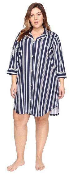 LAUREN Ralph Lauren Plus Size Classic Knit Sleepshirt (Spring Navy Stripe) Women's Pajama - LAUREN Ralph Lauren, Plus Size Classic Knit Sleepshirt, 8131351X-NVBLS, Apparel Top Sleepwear, Sleepwear, Top, Apparel, Clothes Clothing, Gift - Outfit Ideas And Street Style 2017