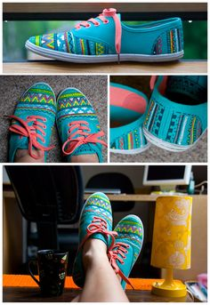 Hand painted shoes aztec plimsolls colorful by BohemianHandicraft, €30.00
