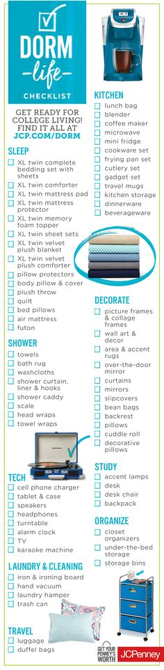 Get ready for college living with this easy dorm check list. We're talking towels, curtains, storage bins, luggage and pillows. Click the image to start dorm shopping!