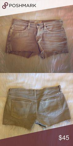 GONE TOMORROW Lucky Brand Denim Shorts Lucky Brand, tan/gray Denim, frayed edges, excellent condition Lucky Brand Shorts Jean Shorts