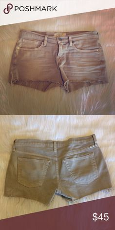Lucky Brand Denim Shorts Lucky Brand, tan/gray Denim, frayed edges, excellent condition Lucky Brand Shorts Jean Shorts