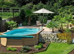 Swimming Pool:Cool Swimming Pool Deck Ideas Inground Swimming Pool & Deck Ideas Decorating Pool Deck Design Above Ground Diy Resurfacing Concrete Swimming Pool Deck Concrete Designs For Small Yard Amazing Swimming Pool Deck Ideas Pools For Small Yards, Small Swimming Pools, Small Backyard Pools, Swimming Pool Designs, Outdoor Pool, Above Ground Pool Landscaping, Above Ground Pool Decks, Above Ground Swimming Pools, In Ground Pools