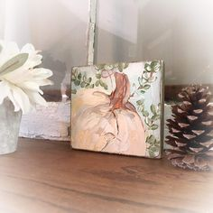 Fall Crafts, Crafts To Make, Fall Decor, Holiday Decor, Christmas Decor, Fall Fireplace, Wood Tags, Painted Pumpkins, Rustic Wood