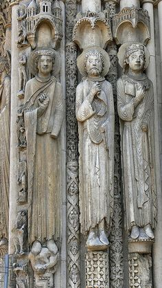 c.1150 Portail Royal Chartres. Old Testament Kings and Queens, romantic sculpture chartres