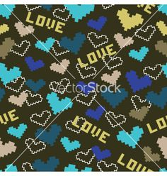 Seamless dark background with hearts vector on VectorStock®
