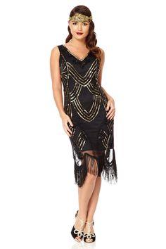 US8 UK12 AUS12 EU40 Juliet Black Gold Flapper Fringe Dress 20s Great Gatsby…