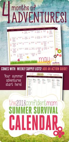 Summer Activities for Kids! The 2018 Summer Survival Calendar has fun and affordable (and sometimes free!) activities, crafts, and kid-friendly recipes for each day of the summer to keep kids engaged and increase family time. Quiet Time Activities, Summer Activities For Kids, Free Activities, Family Activities, Seasons Activities, Summer Fun, 2017 Summer, Summer Ideas, Fun Ideas