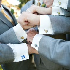 Megan and PJ gave their groomsmen cufflinks of the university they each attended as a groomsmen gift. WVU cufflinks are available from ShopWVU.com and many other WVU retailers.